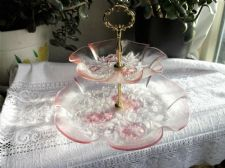 LARGE VINTAGE PINK GLASS 2 TIER DISHES WITH GILT HANDLE TEXTURED FLOWERS